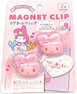 Sanrio Cute Magnet Clip 1.3 x 1.1 x 0.9 in 2 Pcs Set Kitchen Office (Pink My Melody)