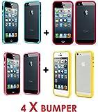 LOT DE 4 Coques Bumper de Protection en Silicone Gel Apple iPhone 5 / 5S / 5C
