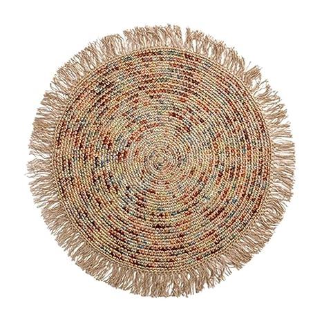 Amazon.com: Alfombra circular tejida a mano para dormitorio ...