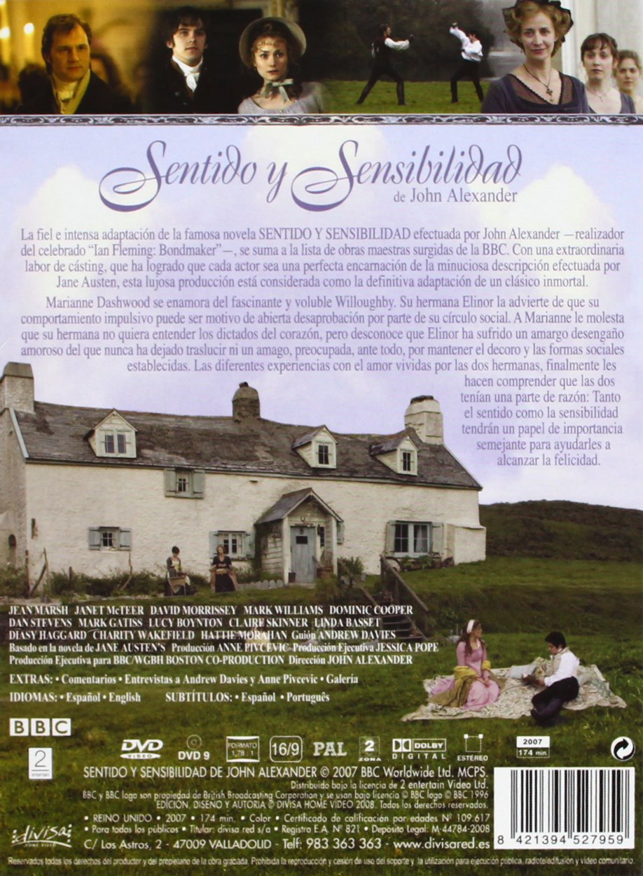 Sentido Y Sensibilidad [DVD]: Amazon.es: Jean Marsh, Janet McTeer, David Morrissey, Mark Williams, Dominic Cooper, Dan Stevens, Mark Gatiss, John Alexander, ...
