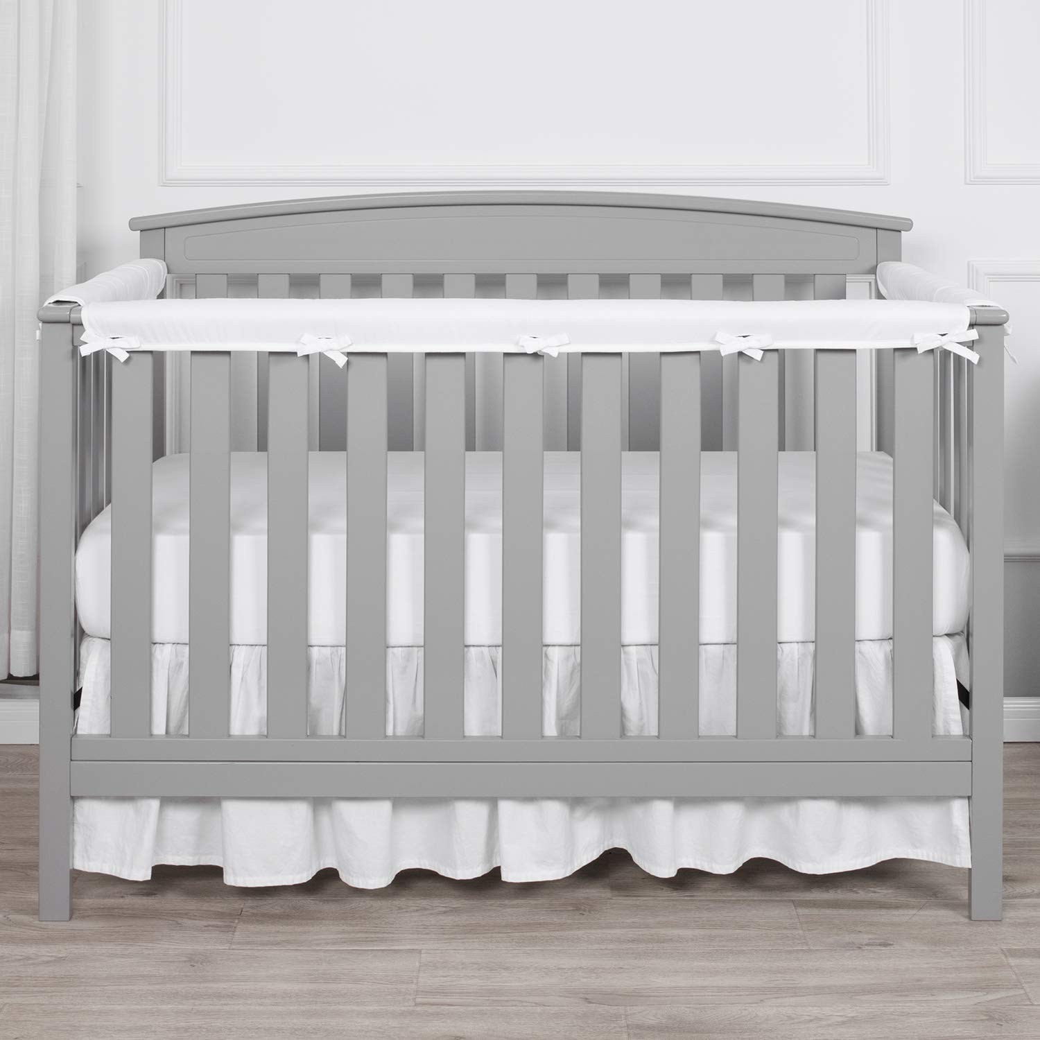 White Reversible Measuring Up to 18 Around 100/% Silky Soft Microfiber Polyester TILLYOU 1-Pack Padded Baby Crib Rail Cover Protector Safe Teething Guard Wrap for Long Front Crib Rails