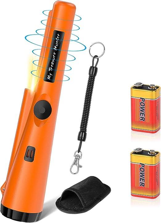 POVO Detectores de Metales Pinpointer IP68 Impermeable 5-10 Metros Bajo el Agua con 2 Pilas Naranja Port/átil Herramientas para Buscar Oro Plata Monedas para Junior Ni/ño Adultos Naranja