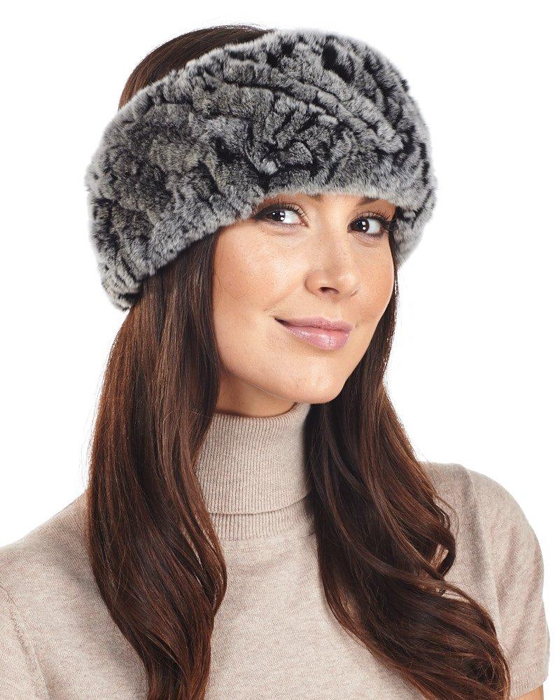 Frr Knitted Fur Headband - Black Frost Rex Rabbit Fur