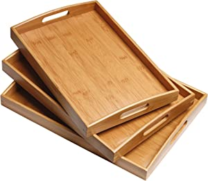 TENMOR Serving Tray Set, Bamboo Serving Tray Set with Handles - Set of 3, Large, Medium, and Small Tray, Multi-use Bamboo Wood Serving Tray Set for Food, Breakfast, Dinner, Party, Tea/Coffee and More