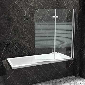 Mampara plegable de bañera Nassau04 de vidrio transparente y con franjas de vidrio esmerilado: Amazon.es: Bricolaje y herramientas