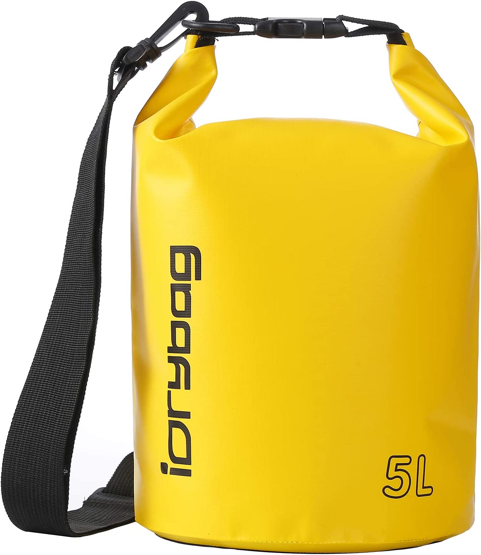 IDRYBAG Dry Bag Waterproof Floating, PVC Waterproof Bag Roll Top, 2L/5L/10L Dry Bag Kayak Storage for Kayaking, Boating, Rafting, Swimming, Hiking, Camping, Travel, Beach