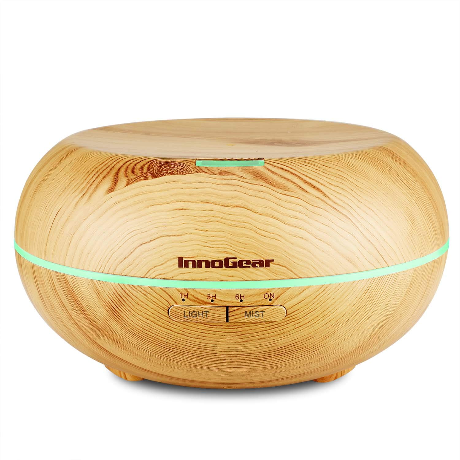 InnoGear Upgraded 500ML Wood Grain Aromatherapy Essential Oil Diffuser Ultrasonic Cool Mist Diffusers with 7 Color LED Lights Waterless Auto Shut-Off