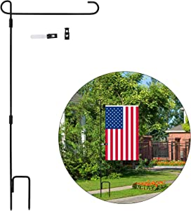 Garden Flag Stand, Tinabless Garden Flag Stand-Holder-Pole with Garden Flag Stopper and Anti-Wind Clip, 33