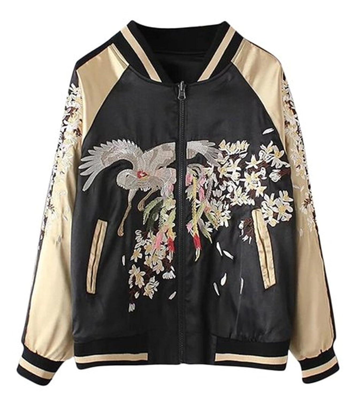 Damen Bomberjacke Fliegerjacke Pilotenjacke Baseballjacke Geblümt Floral Jacke