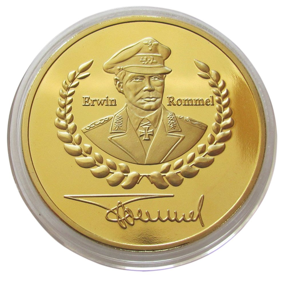 Commemorative Coin German General Field Marshall Erwin Rommel with Signature / Gold Plated -