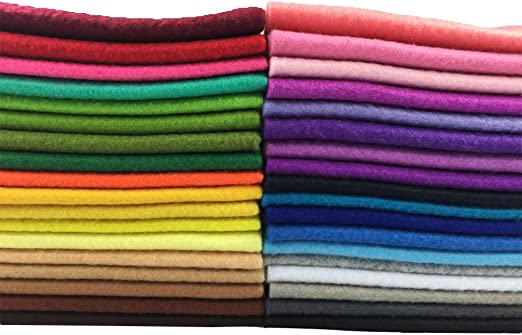 20cm 30cm flic-flac 36pcs 1.4mm Thick Soft Felt Fabric Sheet Assorted Color Felt Pack DIY Craft Sewing Squares Nonwoven Patchwork