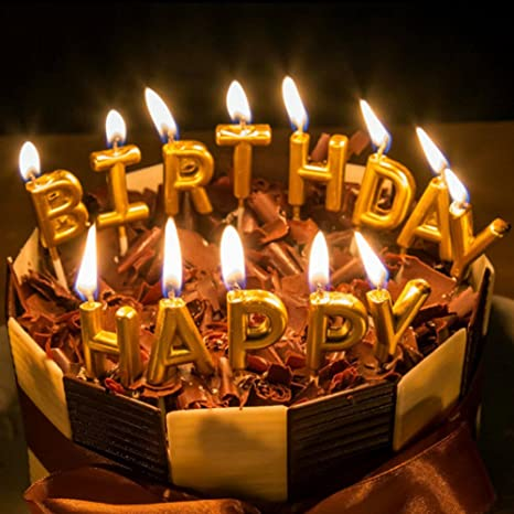 My Party Suppliers Happy Birthday Letter Cake Candles Golden