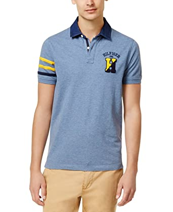 2ab04692 Tommy Hilfiger Mens Contrast-Trim Rugby Polo Shirt at Amazon Men's ...