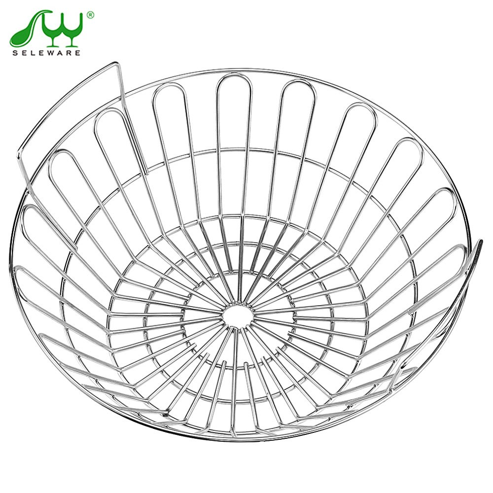 SELEWARE Innovative Stainless Steel Lump Charcoal Fire Basket, Grill Baskets for The Large Big Green Egg, Primo Kamado and Large Grill Dome, 14 Inch Diameter by SELEWARE