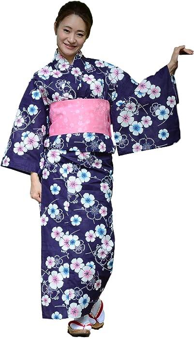e4f681250 Amazon.com: Sakura Women Japanese Yukata (Summer Kimono) & Pre Tied OBI Belt  & Geta Sandals/Indigo Sakura Pattern: Clothing