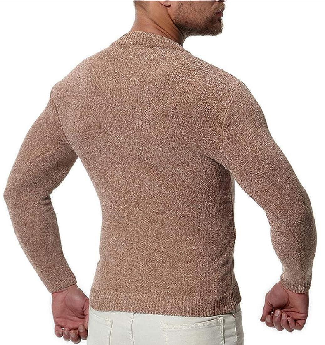 Qiangjinjiu Mens Pullover Sweaters Crew Neck Long Sleeve Knit Sweater Tops