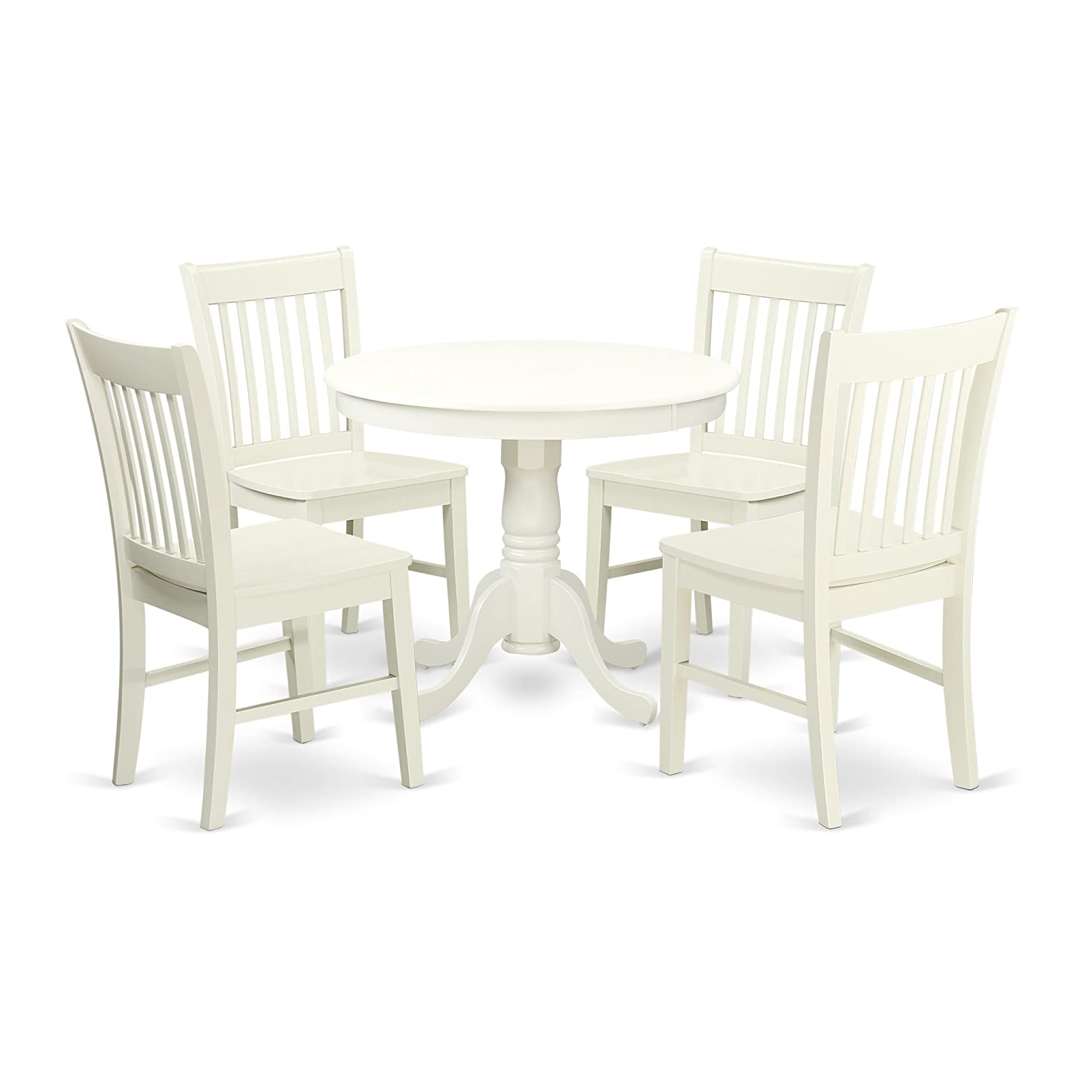 ANNO5-LWH-W 5 Pc Kitchen table set with a Dining Table and 4 Wood Seat Kitchen Chairs in Linen White