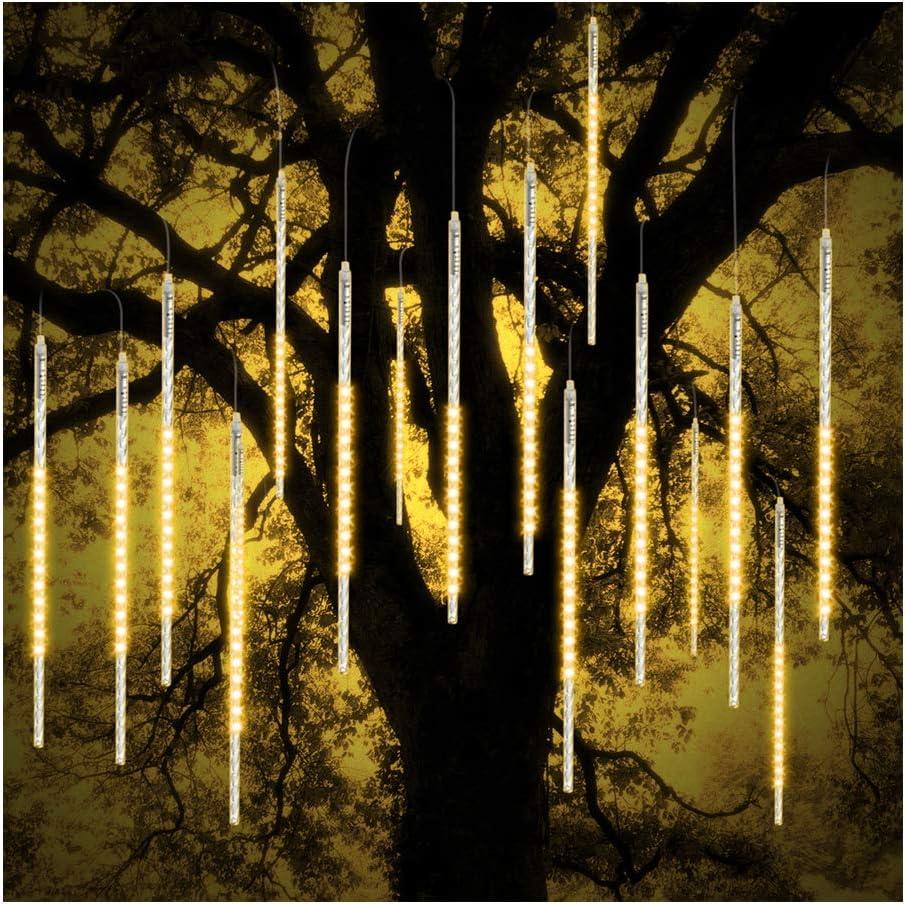 ohCome Meteor Shower Rain Drop Lights 50cm 10 Spiral Tubes 540 LEDs Waterproof Icicle Snowfall String Lights for Wedding Christmas Xmas Halloween Garden Tree Home Decor (WarmWhite)