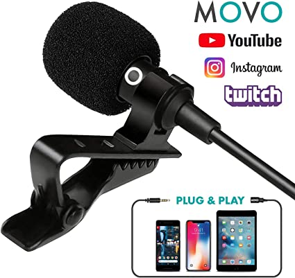 Movo Pm10 Deluxe Lavalier Lapel Clip-On Omnidirectional Condenser Microphone