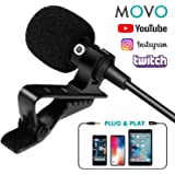 Movo PM10 Deluxe Lavalier Lapel Clip-on Omnidirectional Condenser Microphone for Apple iPhone, iPad, iPod Touch and Android Smartphones