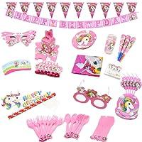 Romote licorne Party Supplies Set avec vaisselle jetable, ensemble de fête d'anniversaire rose, Kit de décoration de fête (ensemble de fête)