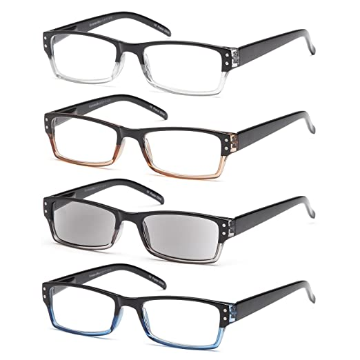 8ab4cbee3dc GAMMA RAY 4 Pairs Rectangular Spring Loaded Reading Glasses Sun Readers -  1.00x