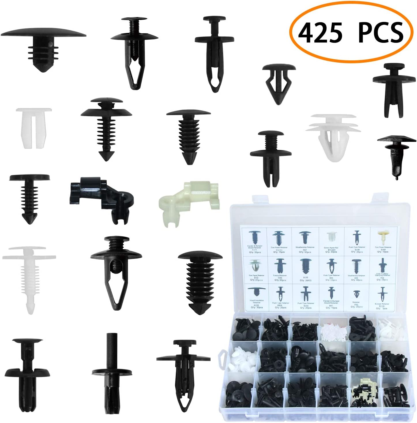 JOJOZZ 30 Pcs Black Plastic Rivets Push Type Panel Retainer Fastener Clip for Automotive Panel Fixing 4mm