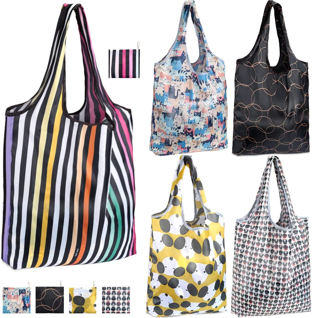 Folding Shopping Bag Reusable Waterproof Handbag Shoulder Bag Eco Friendly Tote