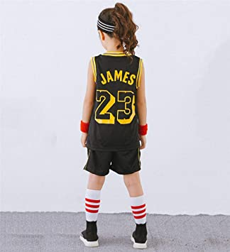 Enfants NBA Lebron James #23 Lakers Rétro Short et Maillot Basketball Jersey Basket Maillots de Basket Uniforme Top & Shorts 1 Set
