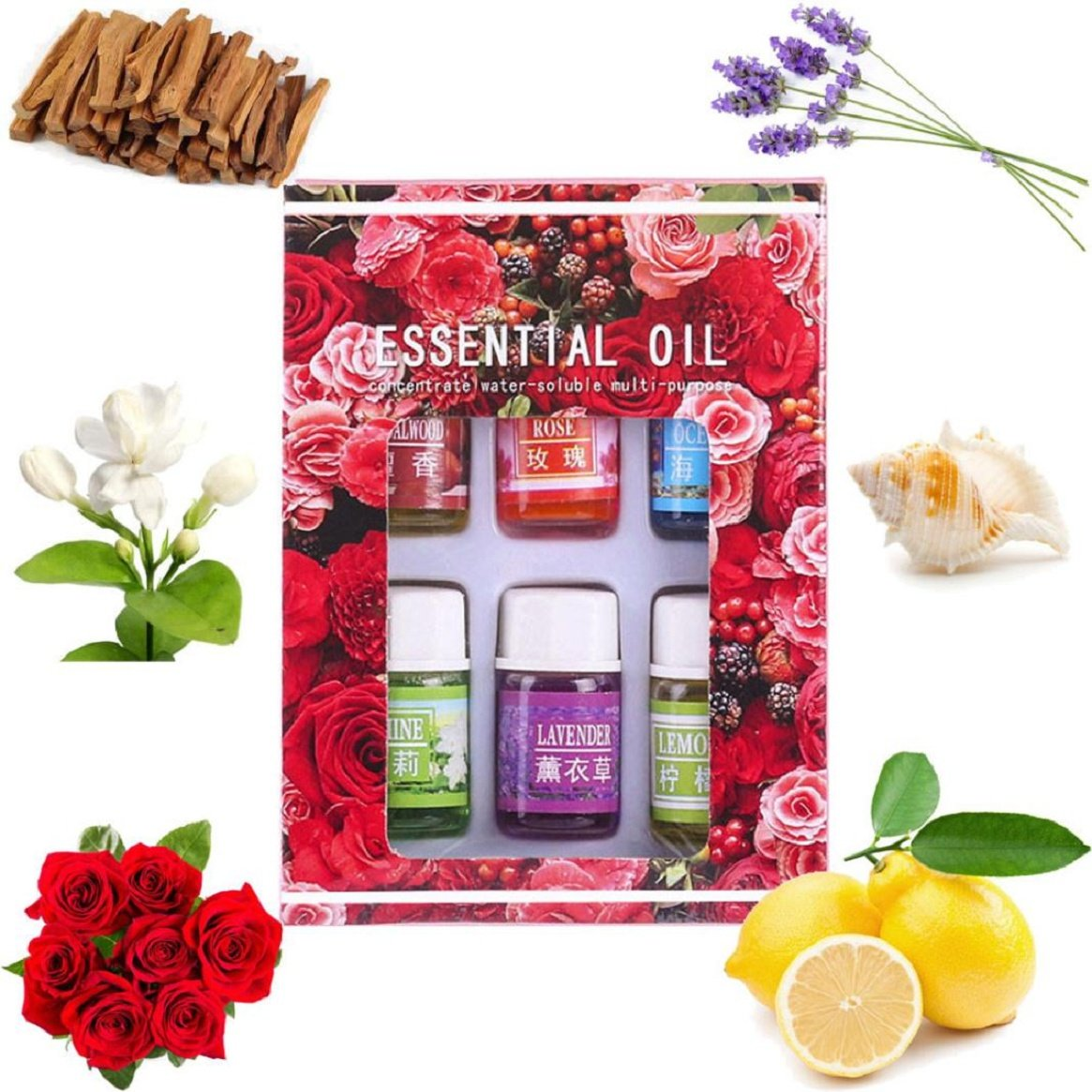 6-Pack Pure Aromatherapy Essential Oil - 3ML/Box for Skin Care Bath Massage Beauty (Assorted)