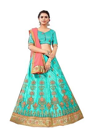 6ee503db95 Amazon.com: Indian Women Designer Partywear Ethnic Traditional Aqua Blue  Lehenga Choli.: Clothing