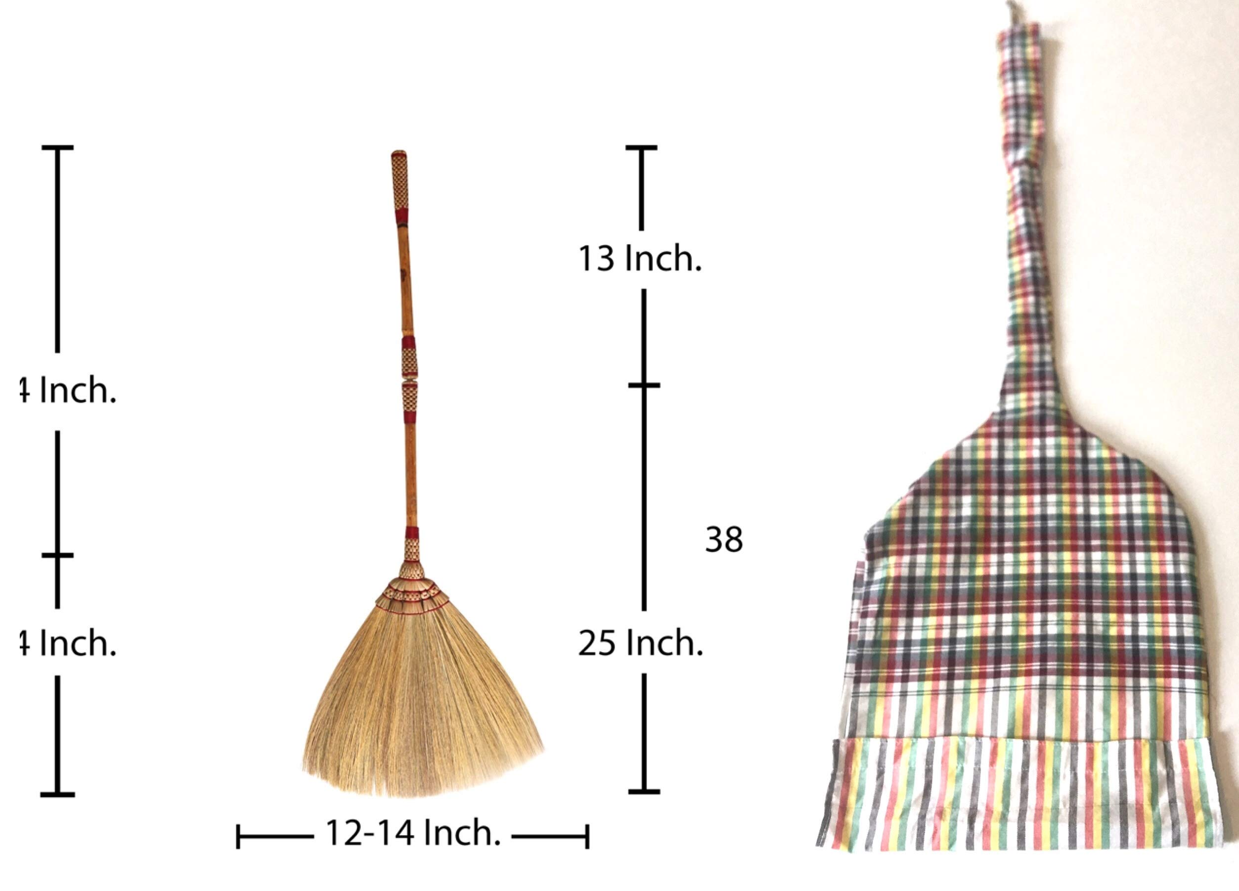 2 in 1 Natural Grass Broom Dustpan Vintage Style Thai Broom, Broomstick Bamboo Stick Handle Witch Broom Handmade Broom Housewarming Gift Tradition Thailand