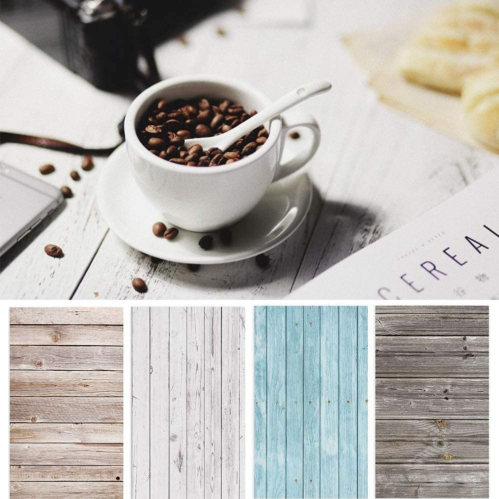 Bcolor Food Photo Backdrop Photography Background Paper Wood 4 Pack Kit 22x34Inch/ 56x86cm Flat Lay Props Double Sided for Product Tabletop Photoshoot Pictures, 8 Pattern