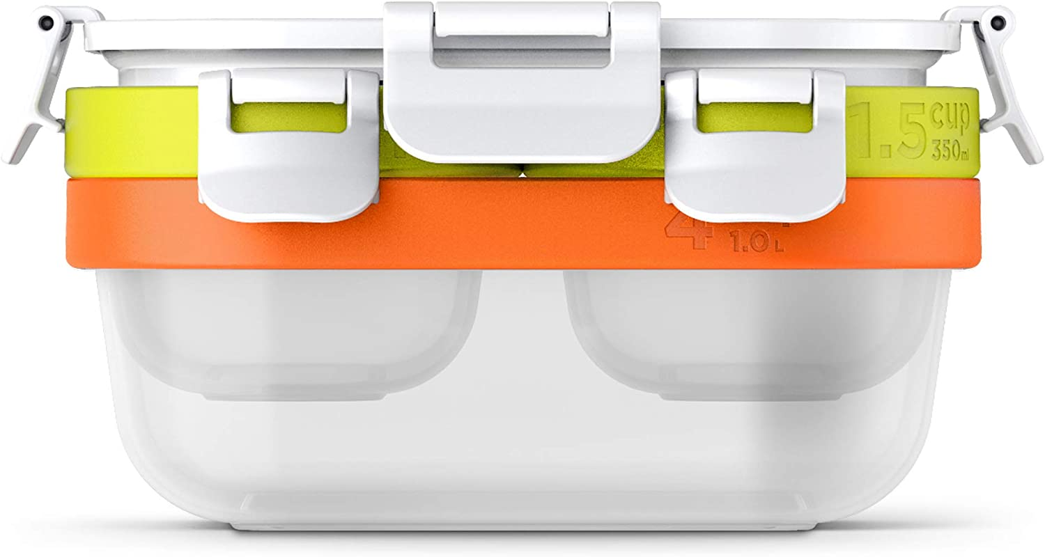 Zoku Neat Stack 7-piece Food Storage Set, Color-coded Nesting Containers with Innovative Freezer Pack and Leak-proof Lids, Microwave, Freezer and Dishwasher Safe