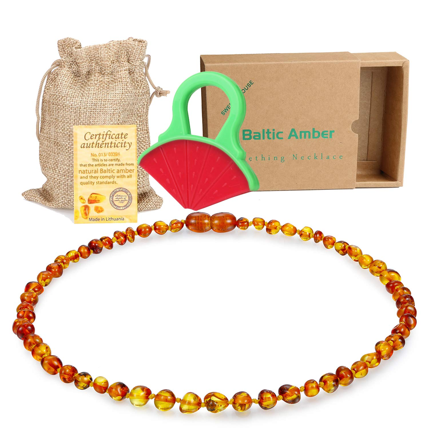 Raw Baltic Baby Amber Teething Necklace - (Cognac) Anti-Flammatory, Drooling & Free Teething Toy Pain Reduce - Reduces Tension and Fear, Teething Necklace for 3 to 36 Months Babies,Boys and Girls