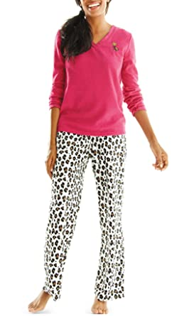 358773c9c478 Hannah Women s 2-pc Women s Fleece Pajama Pant Set - Raspberry  Cheetah  (Small