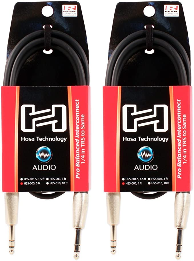 "Hosa HSS-001.5 1//4/"" TRS 1.5 Foot Pro Interconnect Balanced Cable"