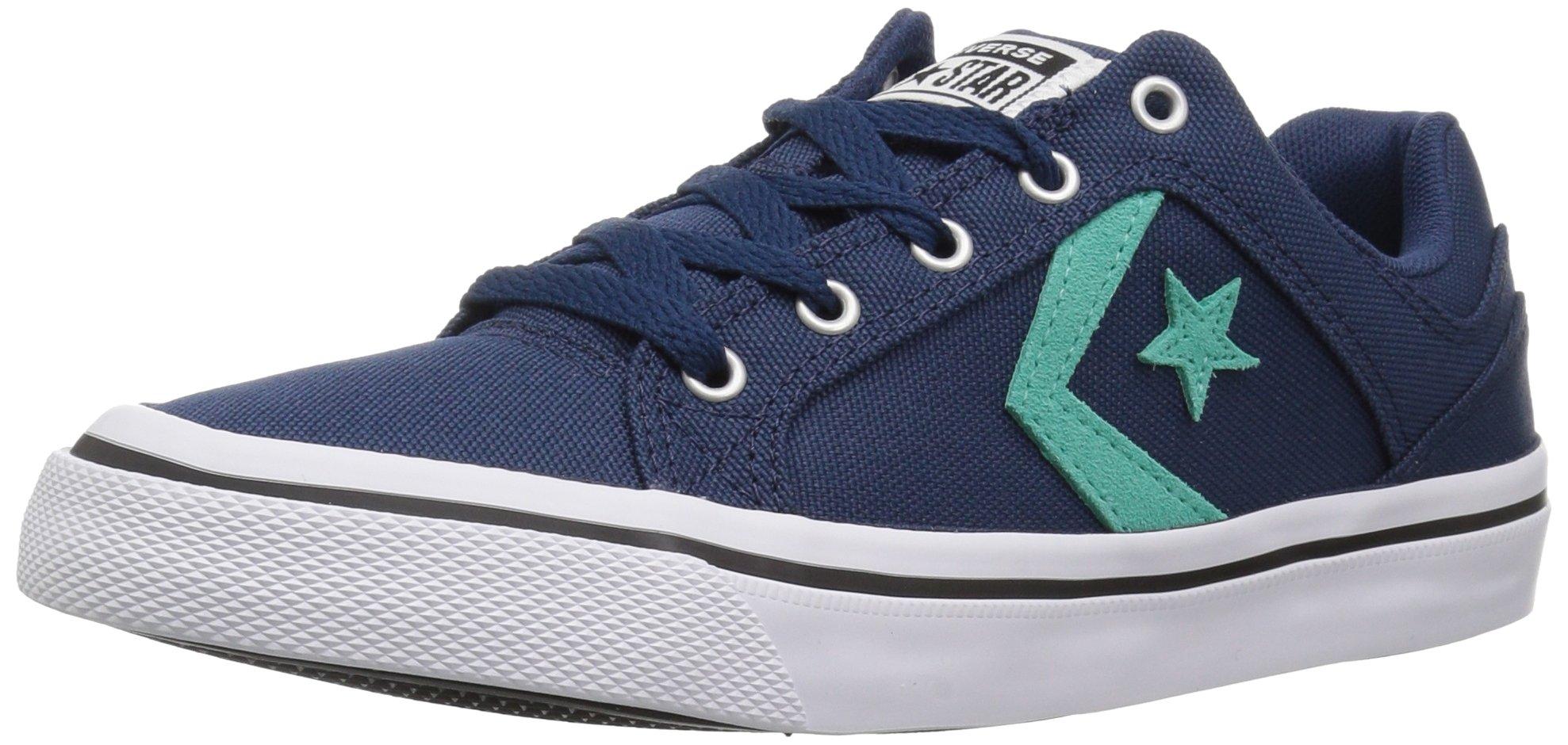 Converse Women's EL Distrito Canvas Low Top Sneaker, Navy/Pure Teal/White, 6.5 M US