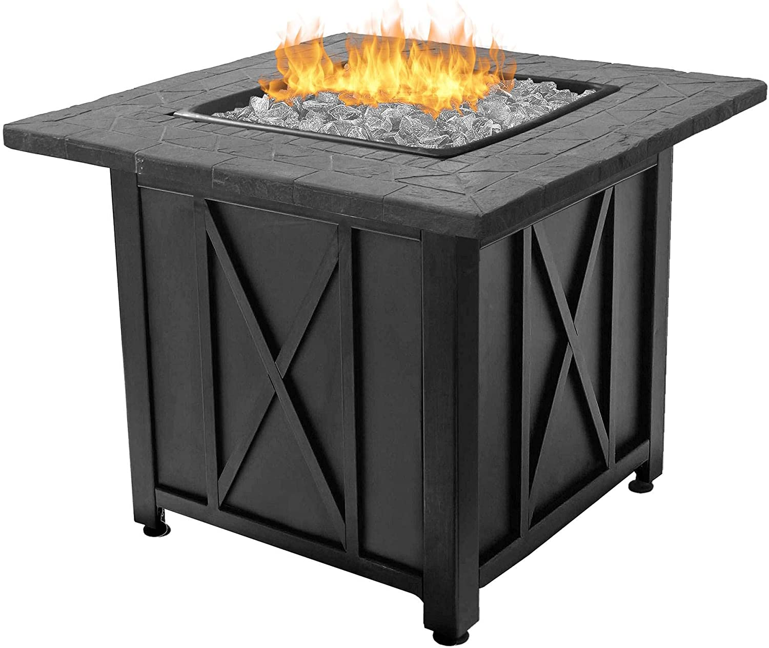 Amazon Com Endless Summer Blue Rhino Outdoor Propane Gas White Fire Glass Patio Fire Pit Garden Outdoor