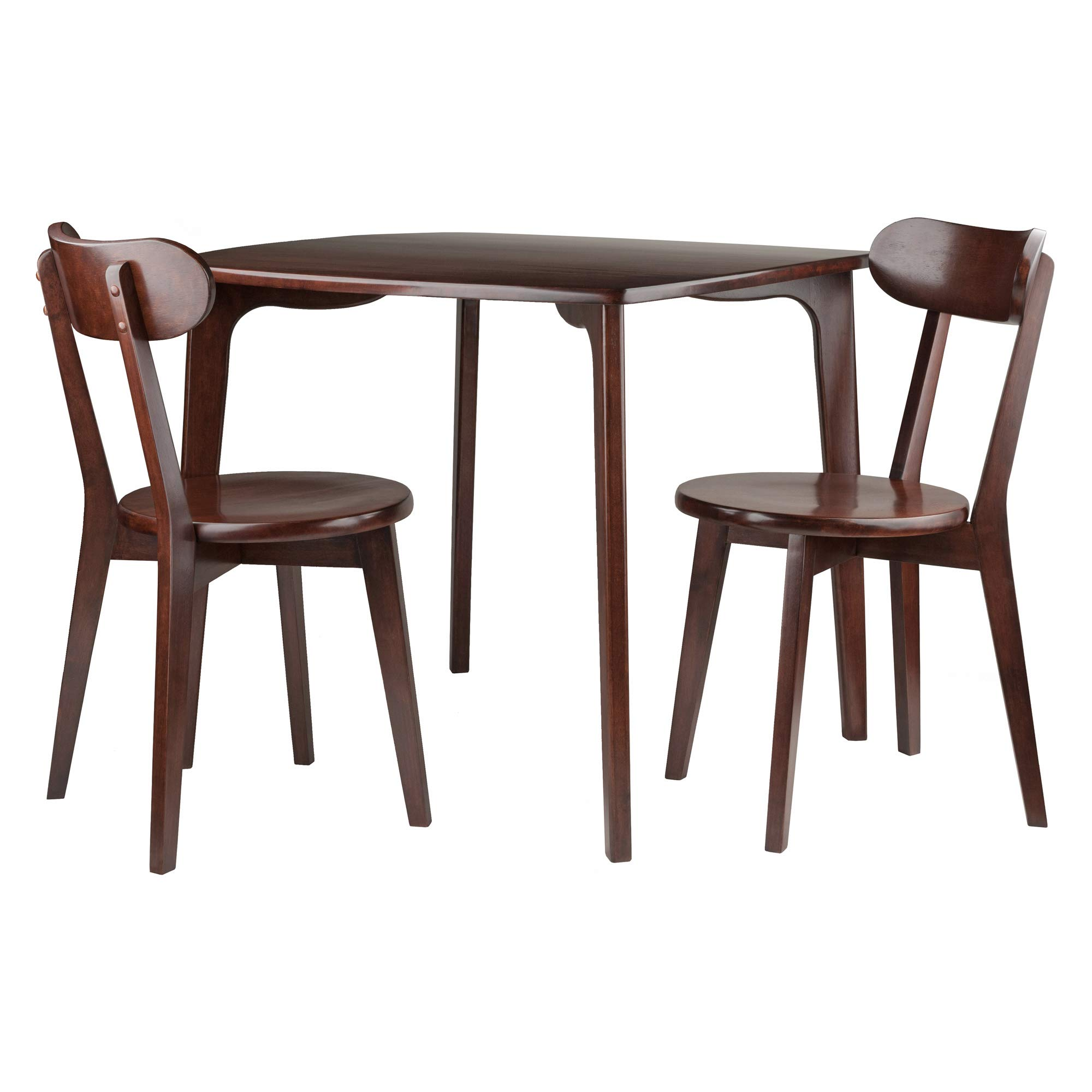 Winsome Wood 94372 Pauline 3-PC Table with 2 Chairs Dining Set, Walnut