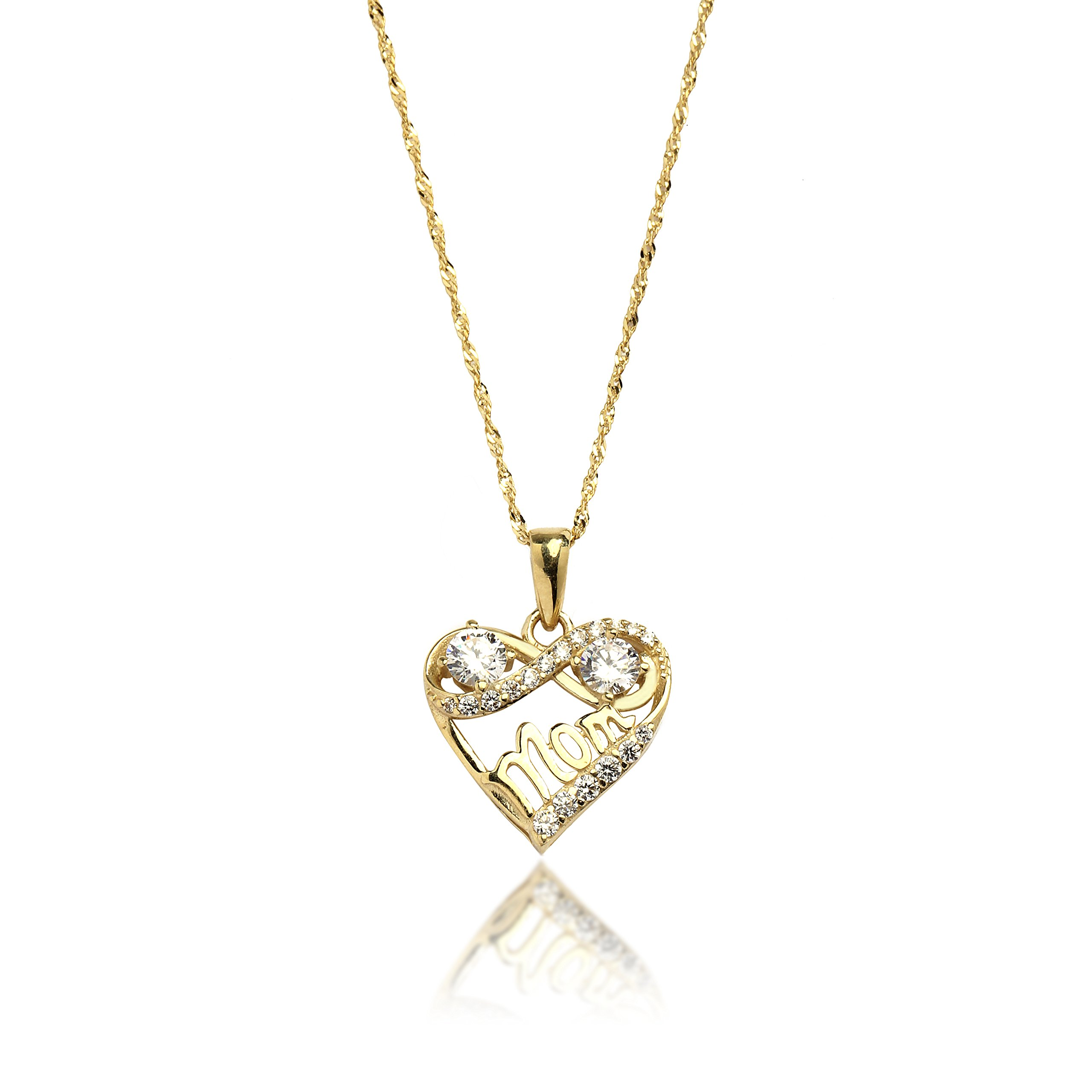 18'' 10K Yellow Gold Heart and Infinity Mom Cubic Zirconia Pendant Necklace for Women