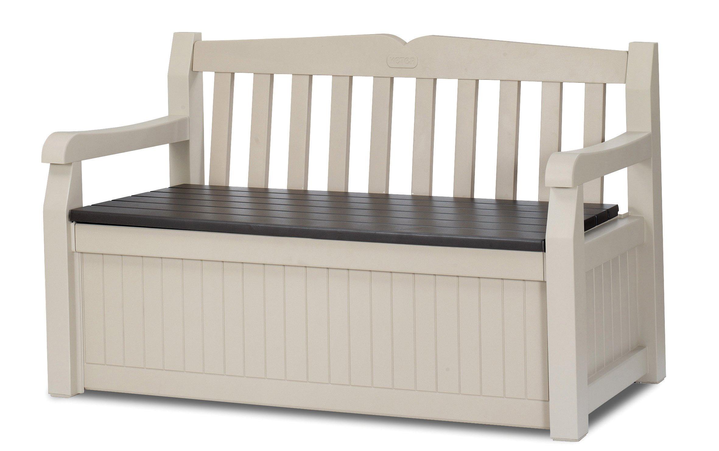 Keter Eden 70 Gallon All Weather Outdoor Patio Storage Garden Bench Deck Box, Beige by Keter`