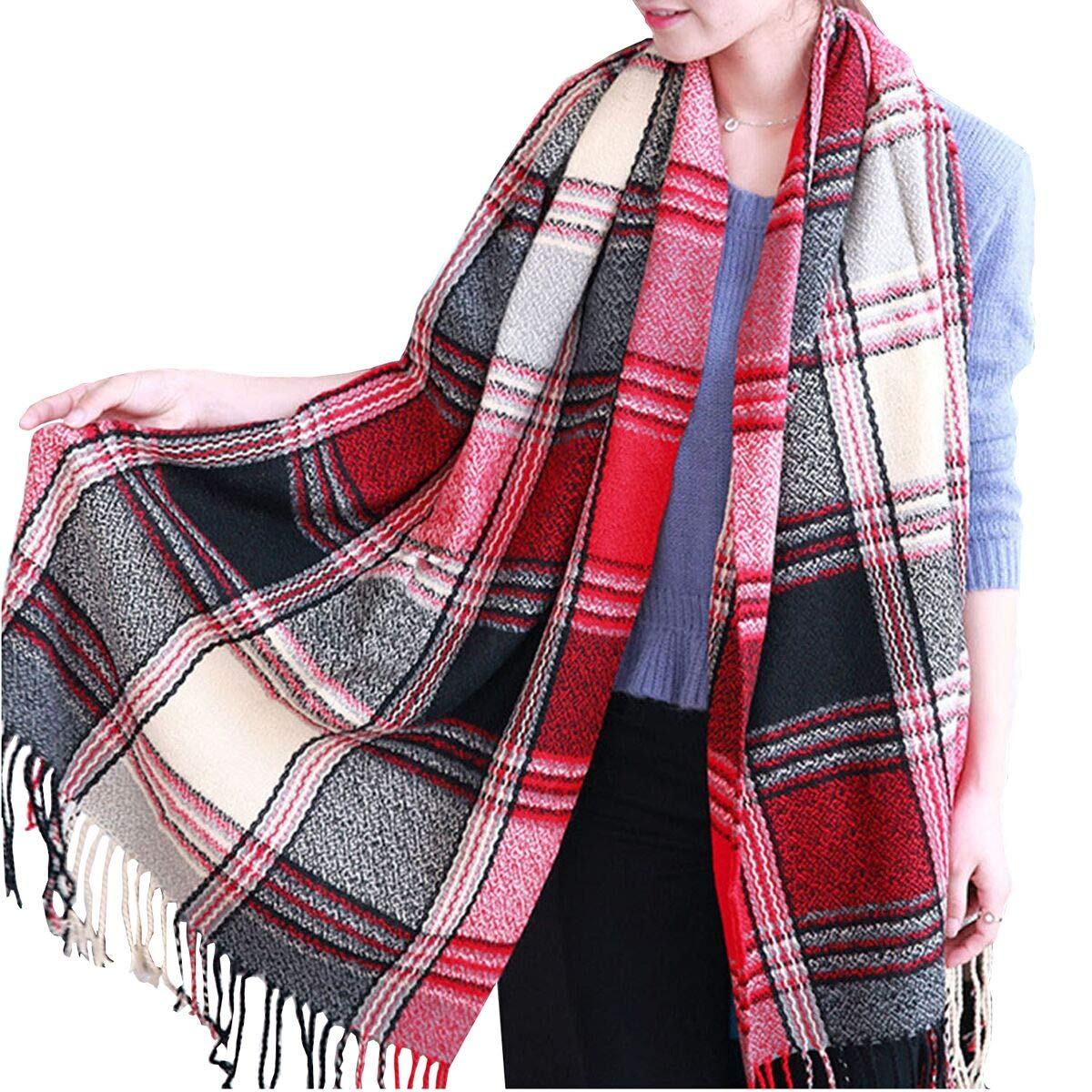 Plaid Scarf - Women Tartan Scarf Long Wool Spinning Tassel Wrap Shawl Classic Style Soft and Warm in Autumn and Winner 604270059296