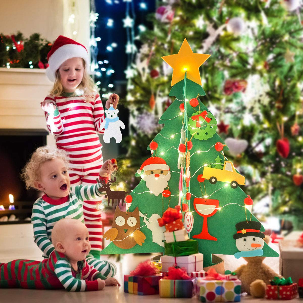 Joyibay Albero di Natale in feltro Set Albero di Natale decorativo fai-da-te con ornamenti e stringa di luce Accessori per decorazioni natalizie