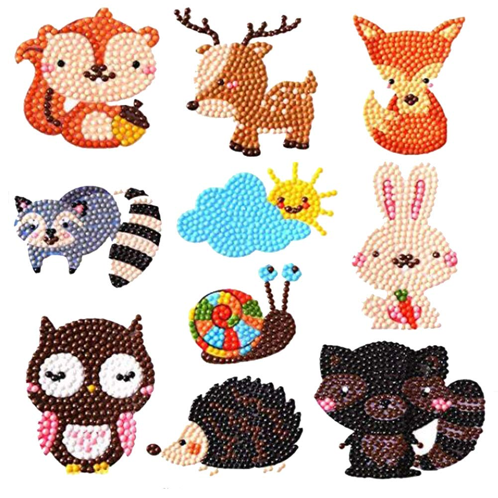 LYOOO 5D Diamond Painting by Numbers DIY Diamond Painting Stickers for Kids Beginner Cute Animals Painting Kits