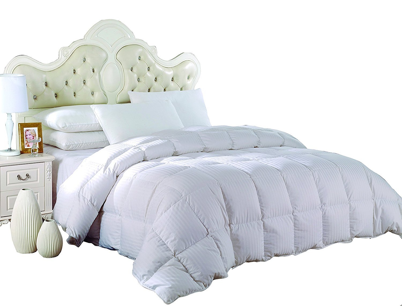 Royal Hotel's King Size Down-Comforter 650-Fill-Power 100 % Cotton Shell 300TC - Stripe White