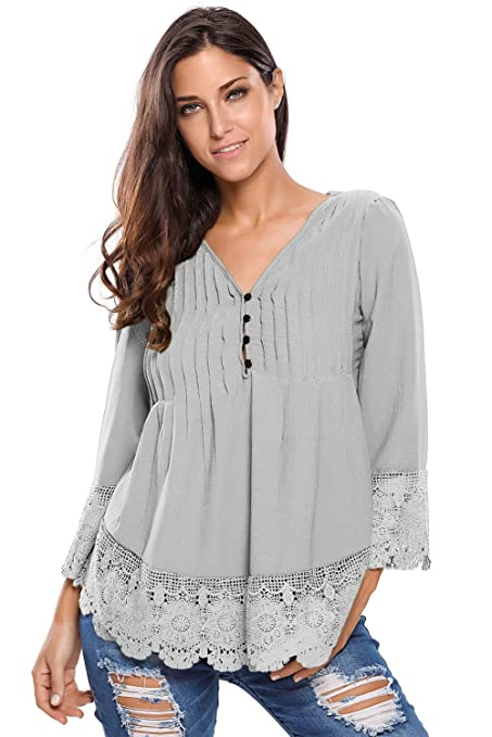 Nuevas señoras gris botón detalle Crochet encaje blusa Top Club wear fiesta wear casual wear ropa
