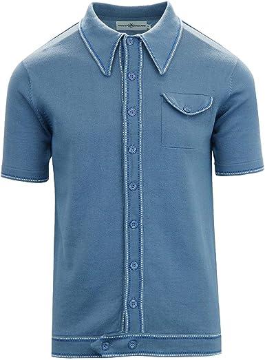 Madcap England Crawdaddy Micro Dash Knit Polo Caramel MC166 Azul ...