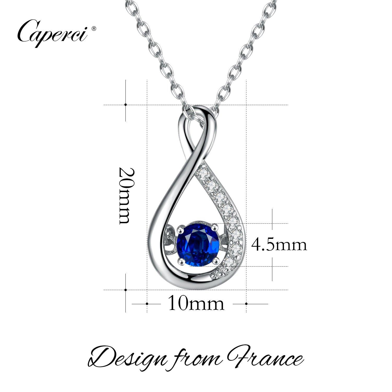 f0d9b4df5c3f Caperci Collar para Mujer Plata de Ley Zafiro Azul Creado Zirconia Cúbica  45cm Regalo de Joyería para Mujer  Amazon.es  Joyería