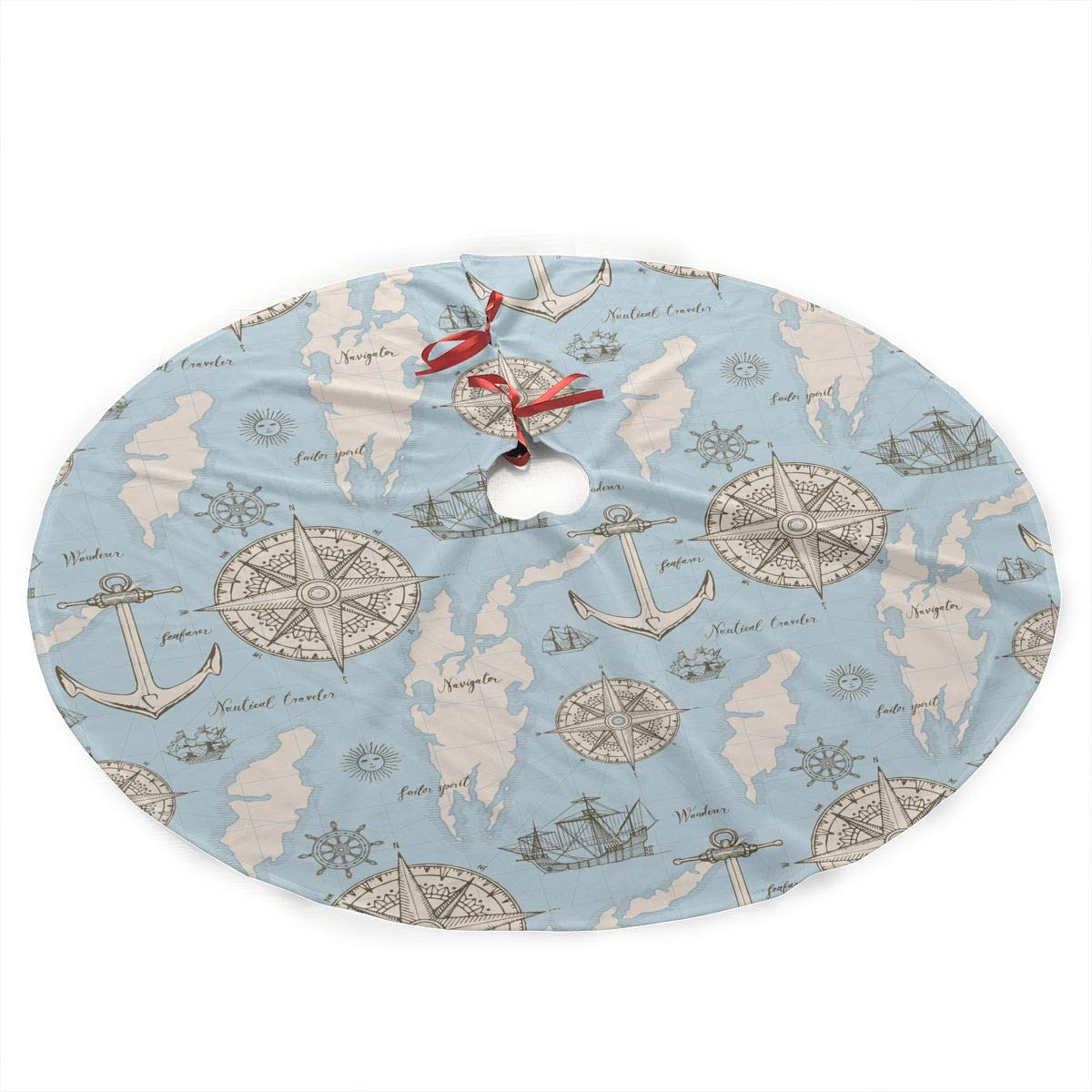 "Amazon.com: SXKKoin 35.5"" Traditional Holiday Christmas Tree Skirt with  Retro Style Nautical Element Design: Home & Kitchen"